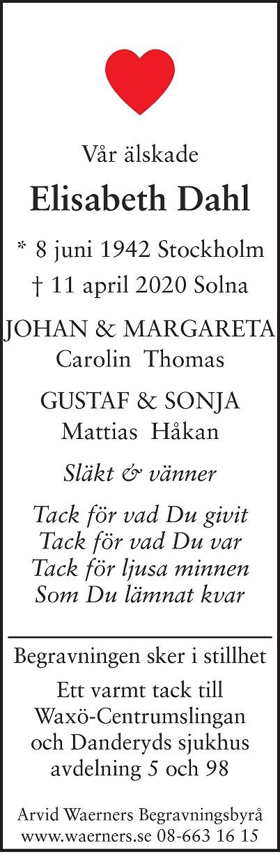 Anna Elisabeth Charlotta Dahl Death notice