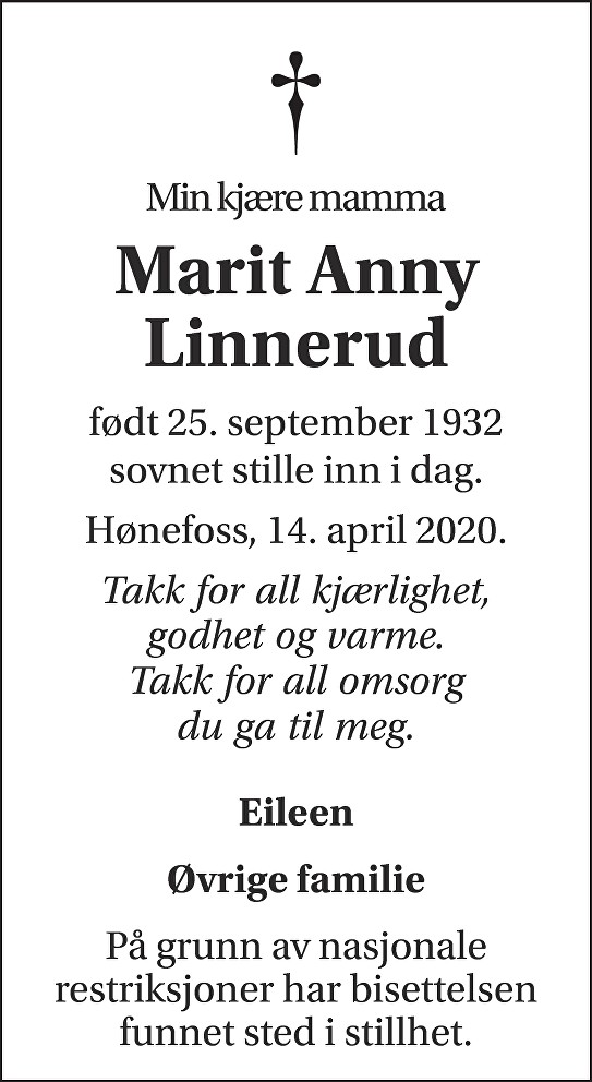 Marit Anny Linnerud Dødsannonse