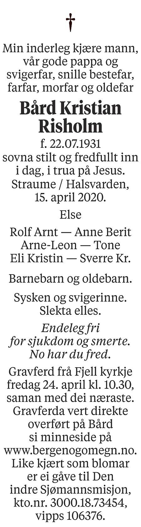 Bård Kristian Risholm Dødsannonse