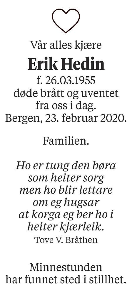 Erik Hedin Dødsannonse