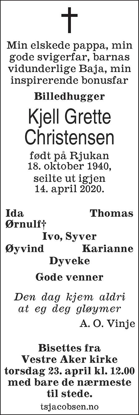 Kjell Øystein Christensen Dødsannonse