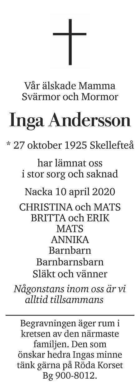 Inga Andersson Death notice