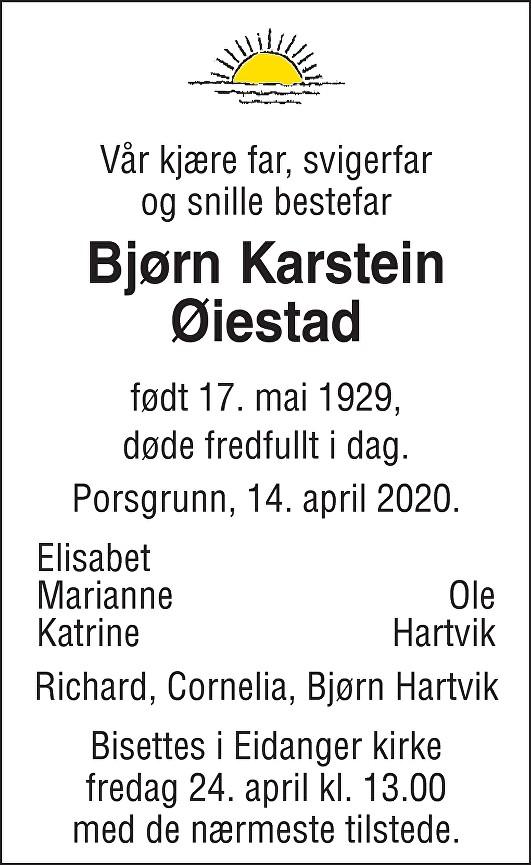 Bjørn Karstein Øiestad Dødsannonse