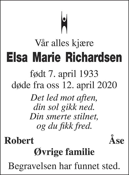 Elsa Marie Richardsen Dødsannonse