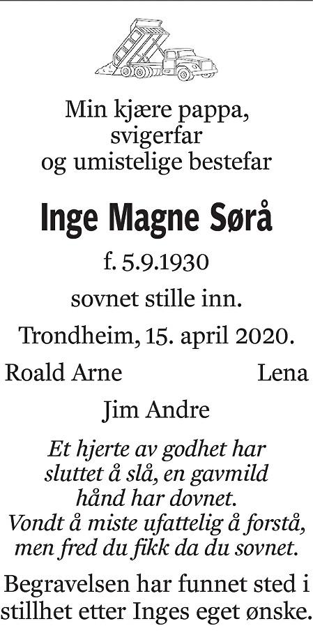 Inge Magne Sørå Dødsannonse
