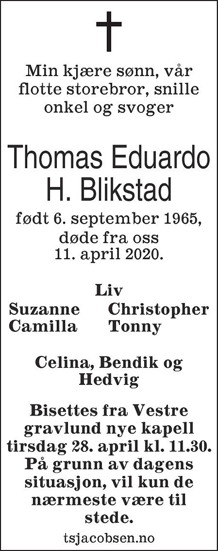 Thomas Eduardo Blikstad Dødsannonse