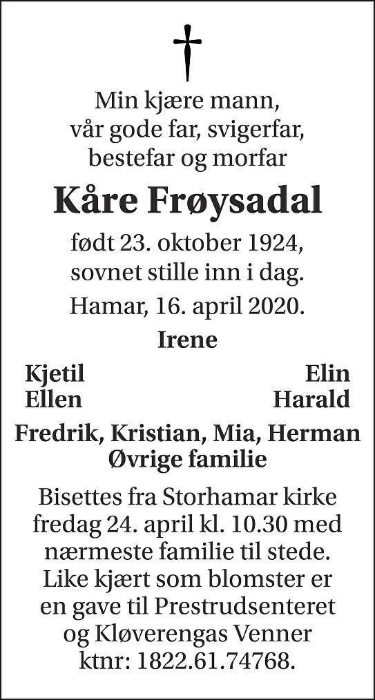 Kåre Frøysadal Dødsannonse