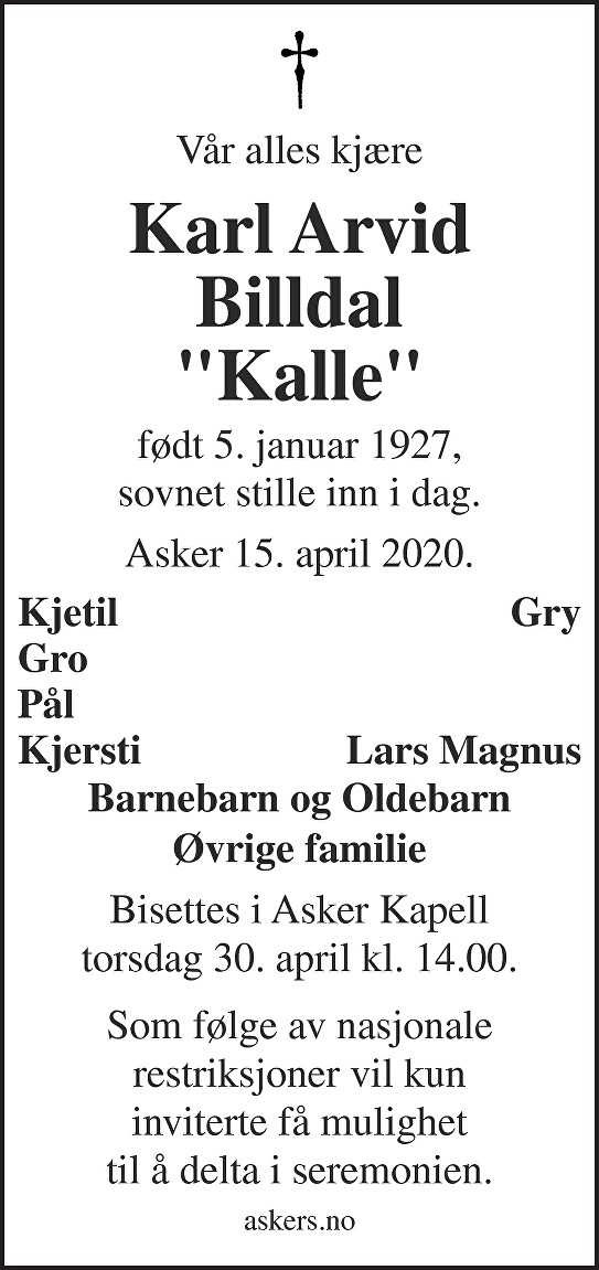 Karl Arvid Billdal Dødsannonse