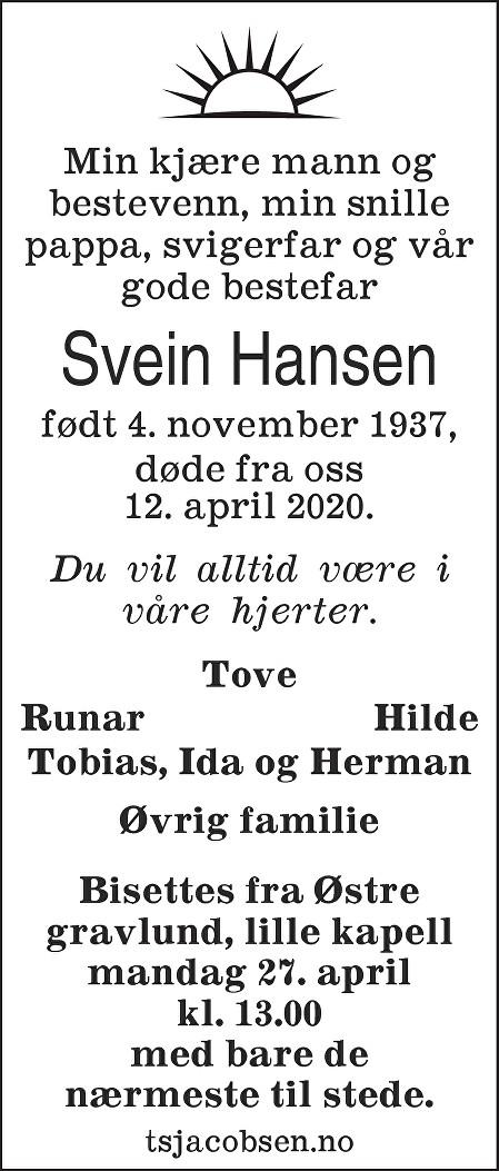 Svein Hansen Dødsannonse