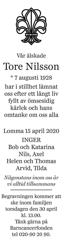 Tore Nilsson Death notice