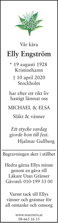 Elly Engström Death notice