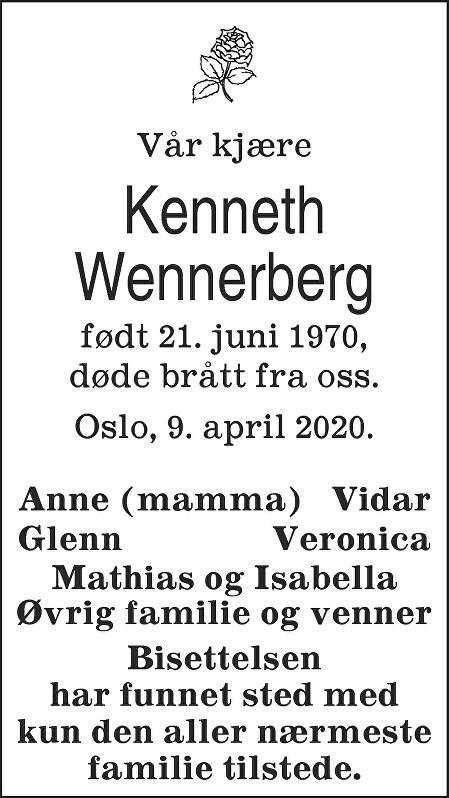 Kenneth Wennerberg Dødsannonse