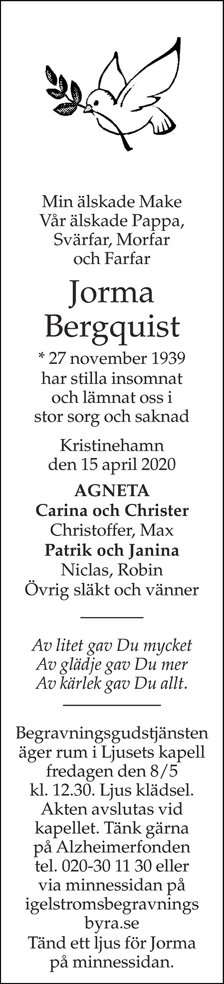 Jorma Bergquist Death notice