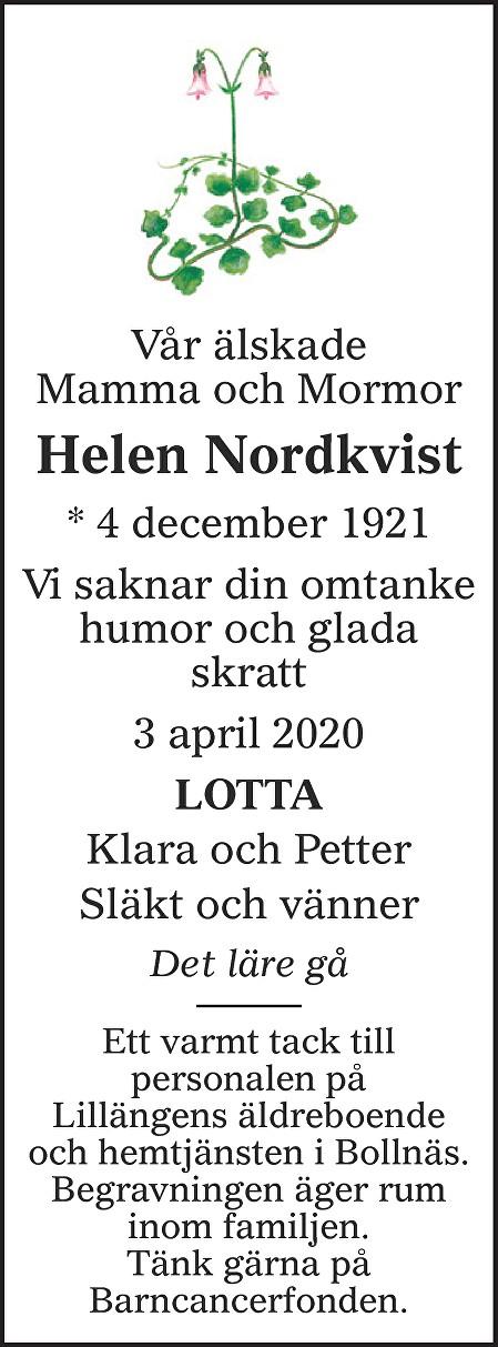 Helen Nordkvist Death notice