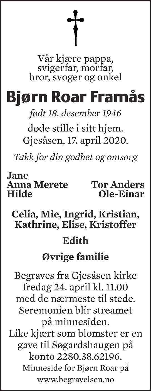 Bjørn Roar Framås Dødsannonse