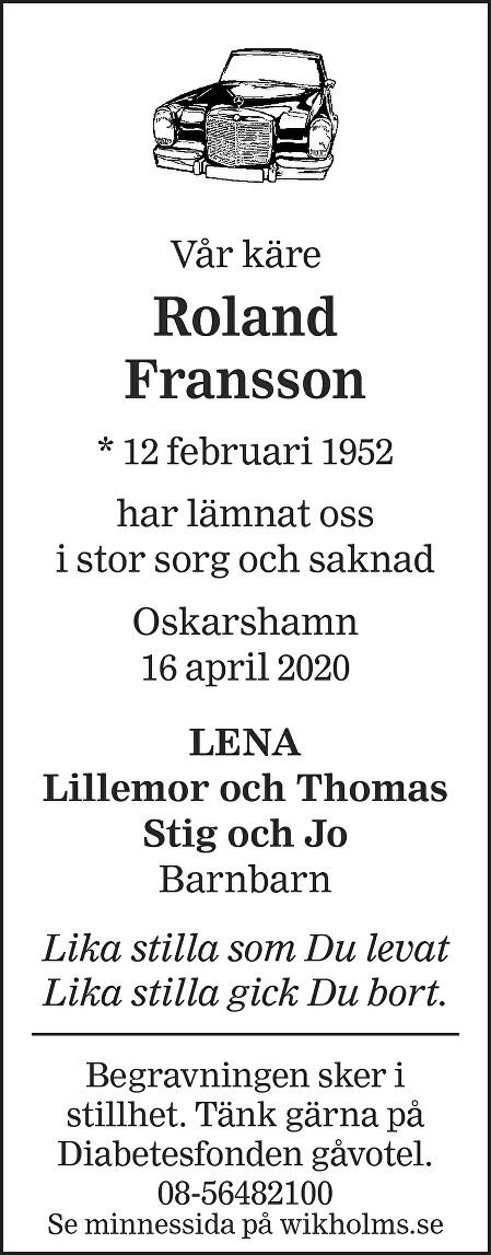 Roland Fransson Death notice