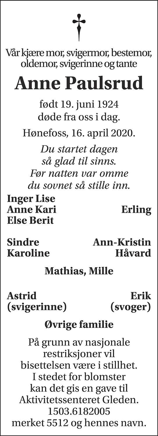 Anne Paulsrud Dødsannonse