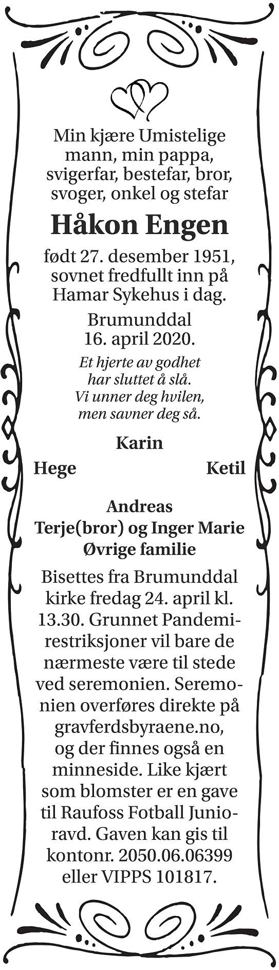 Håkon Engen Dødsannonse