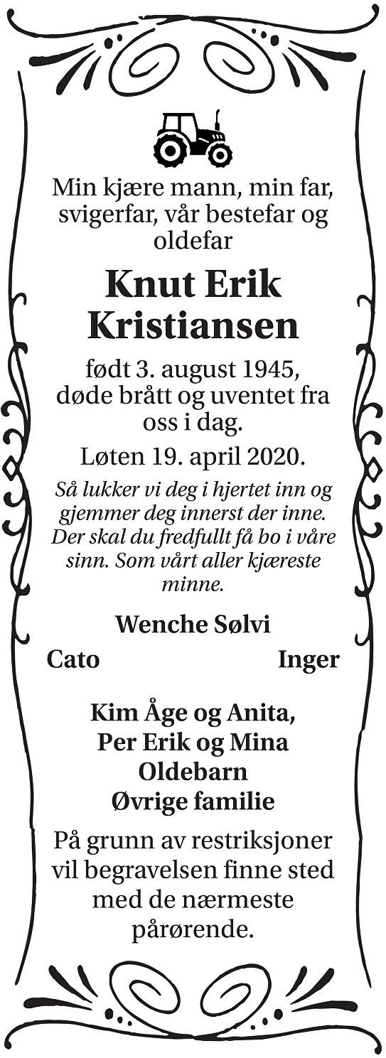 Knut Erik Kristiansen Dødsannonse