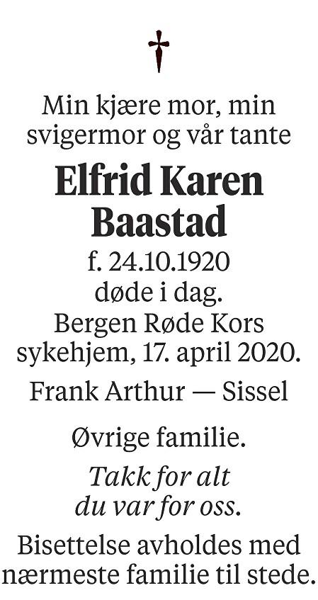 Elfrid Karen Baastad Dødsannonse