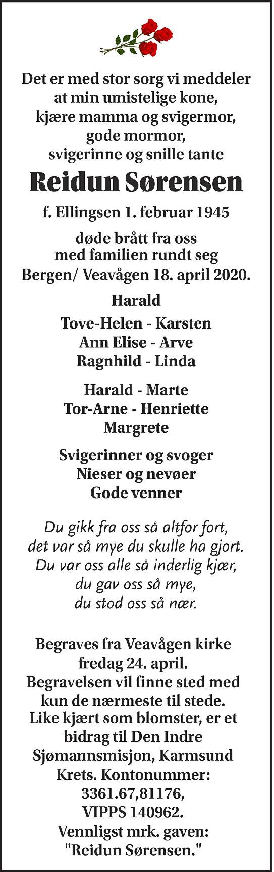 Reidun Sørensen Dødsannonse