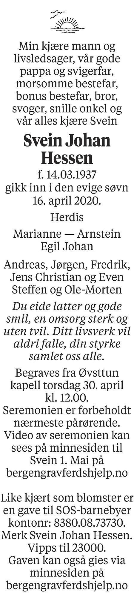 Svein Johan  Hessen Dødsannonse