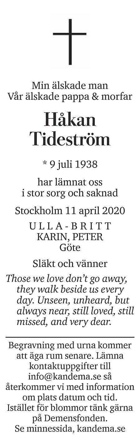 Håkan  Tideström Death notice