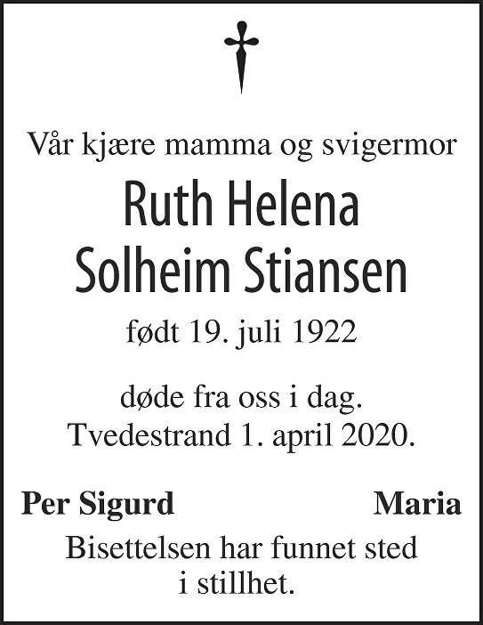 Ruth Helena Solheim Stiansen Dødsannonse