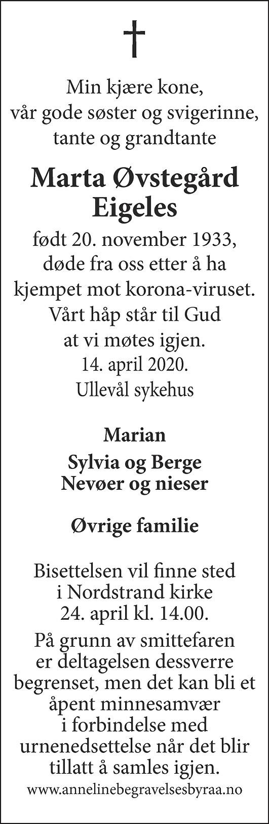 Marta Øvstegård Eigeles Dødsannonse