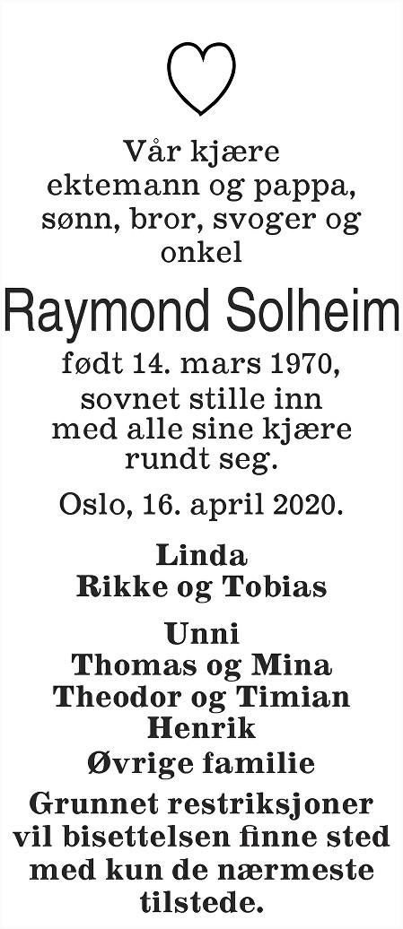 Raymond Solheim Dødsannonse