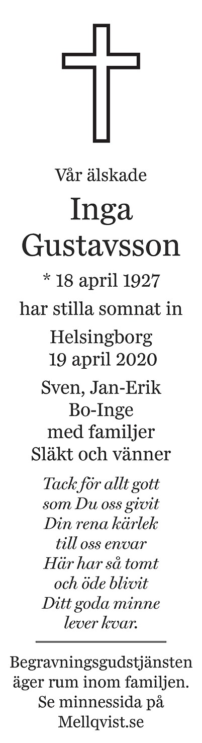 Inga Gustavsson Death notice