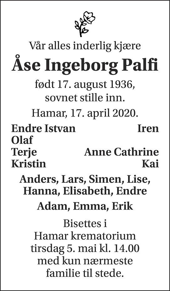 Åse Ingeborg Palfi Dødsannonse