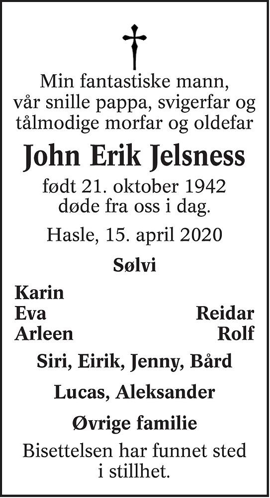 John Erik Jelsness Dødsannonse