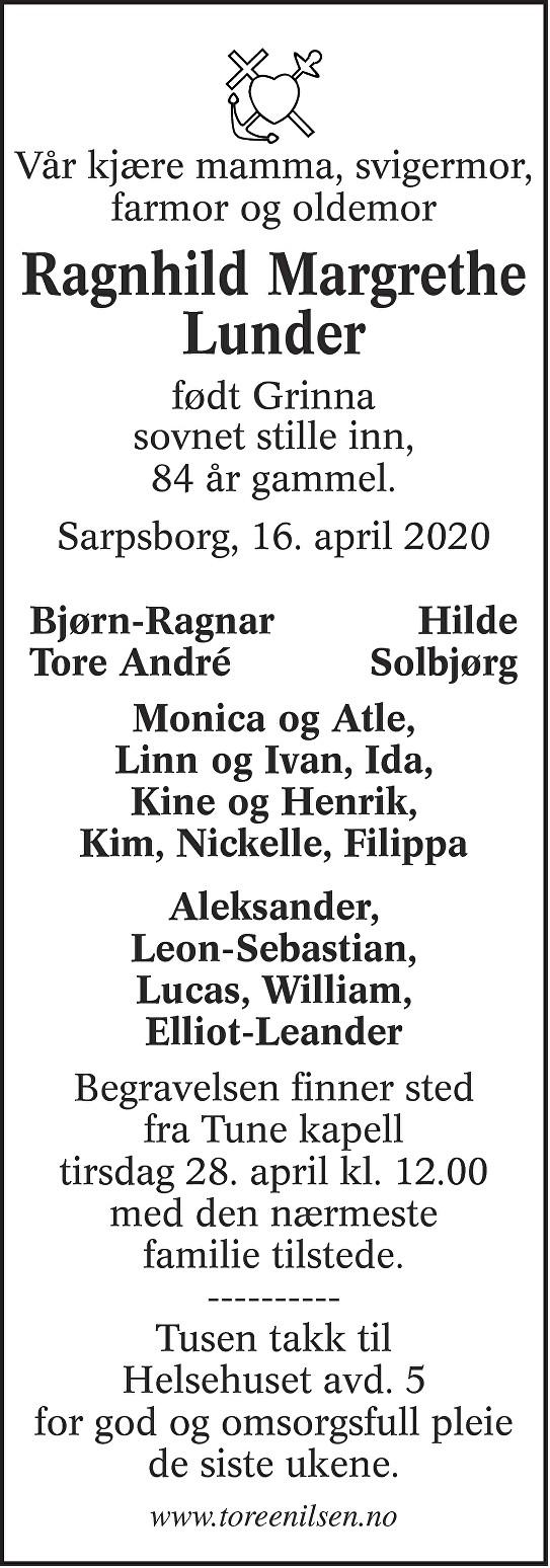 Ragnhild Margrethe Lunder Dødsannonse