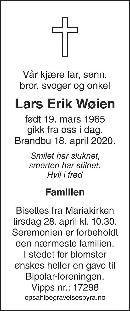Lars Erik Wøien Dødsannonse