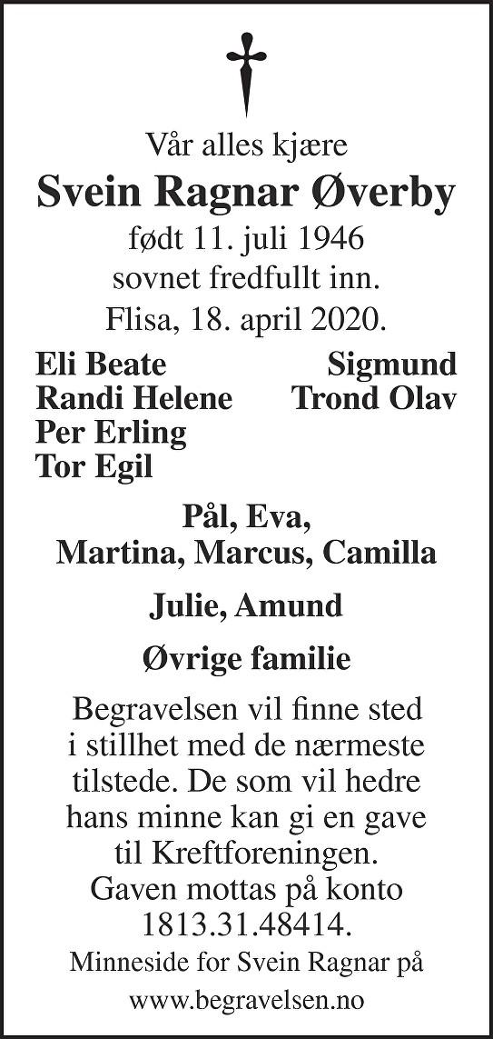 Svein Ragnar Øverby Dødsannonse