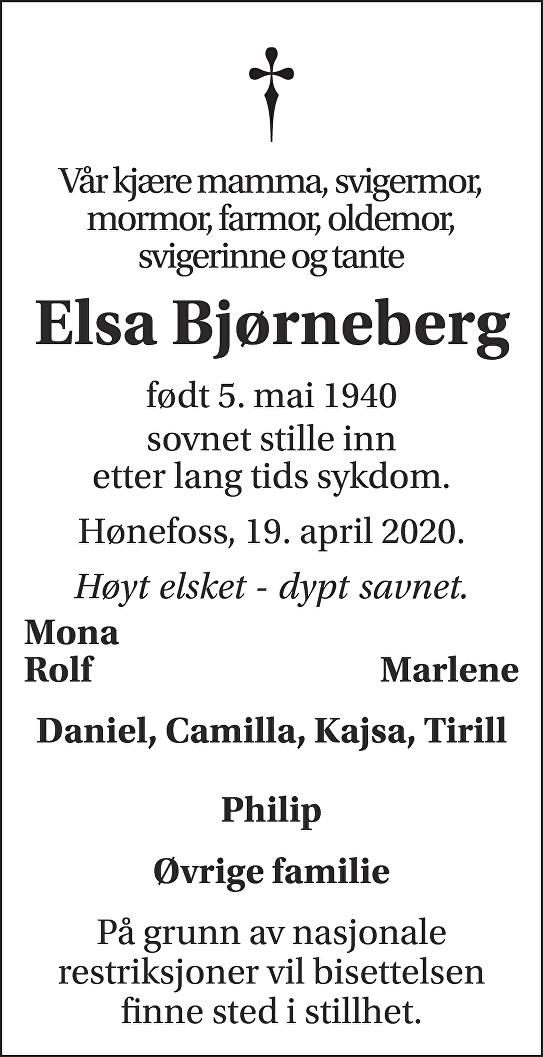 Elsa Bjørneberg Dødsannonse