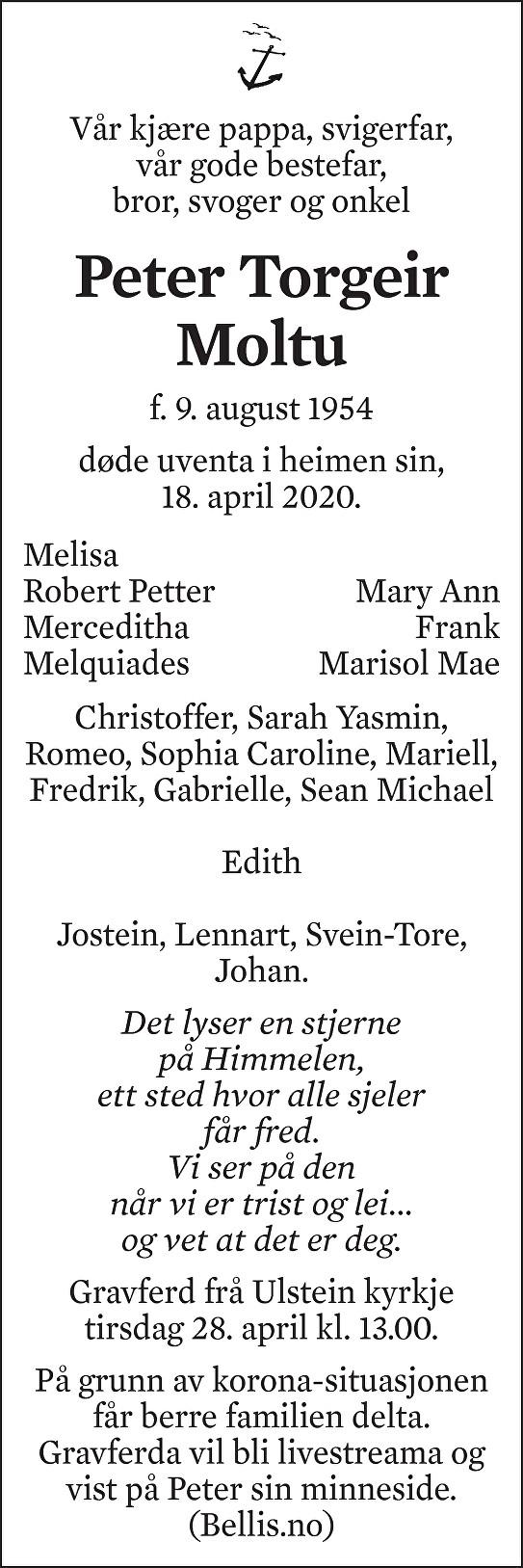 Peter Torgeir Moltu Dødsannonse