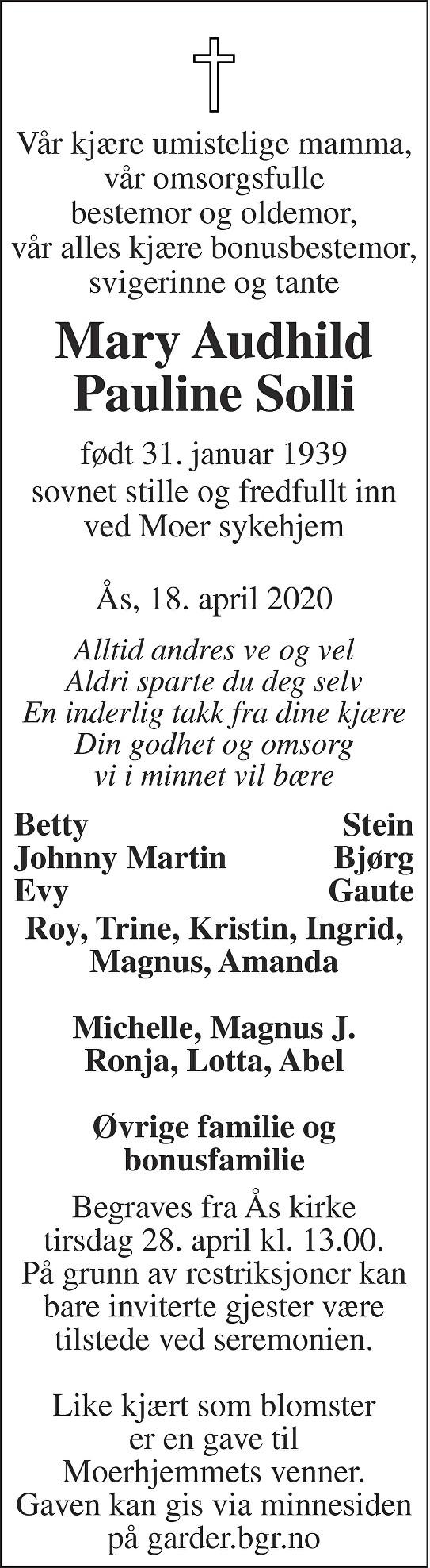 Mary Audhild Pauline Solli Dødsannonse