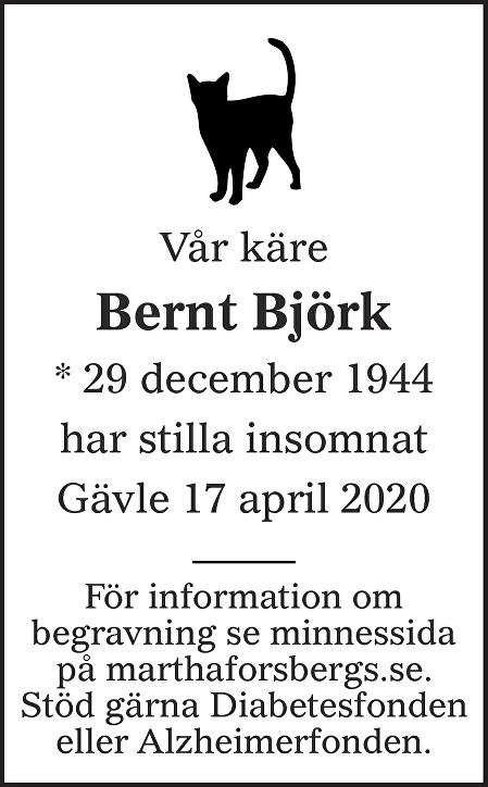 Bernt Björk Death notice