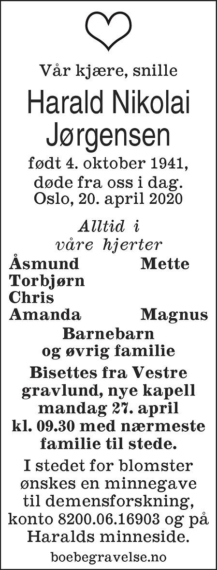 Harald Nikolai Jørgensen Dødsannonse