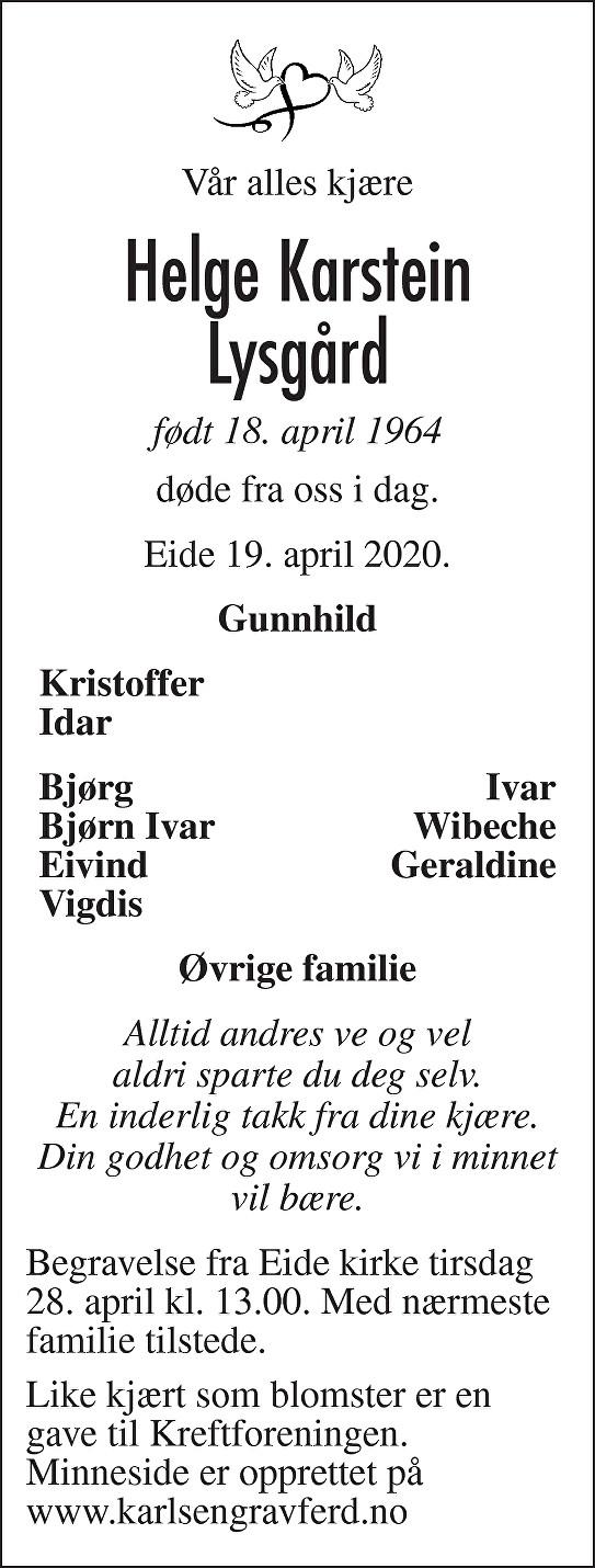 Helge Karstein Lysgård Dødsannonse