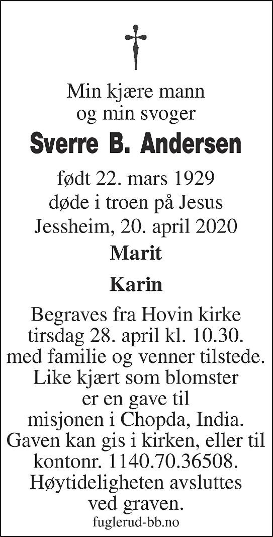 Sverre Bernhardt Andersen Dødsannonse