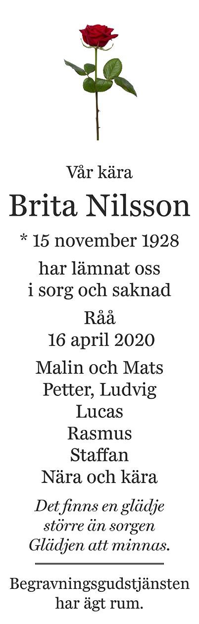 Brita Nilsson Death notice