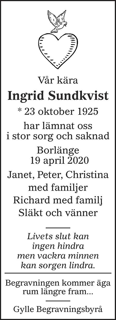 Ingrid Sundkvist Death notice