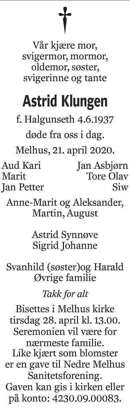 Astrid Klungen Dødsannonse