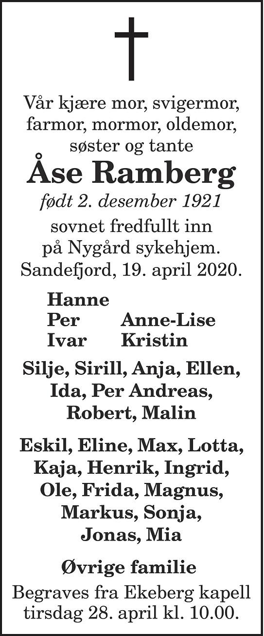 Åse Ramberg Dødsannonse