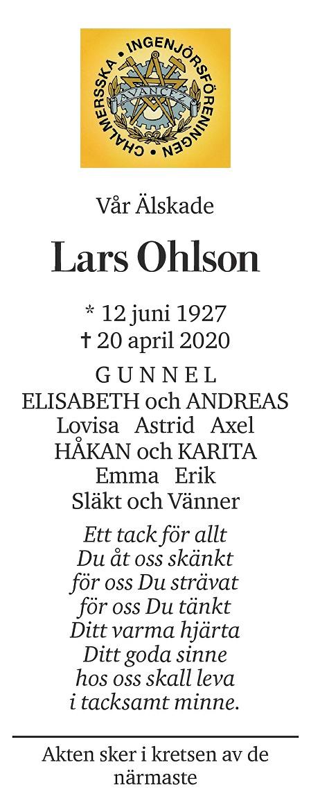 Lars Olsson Death notice
