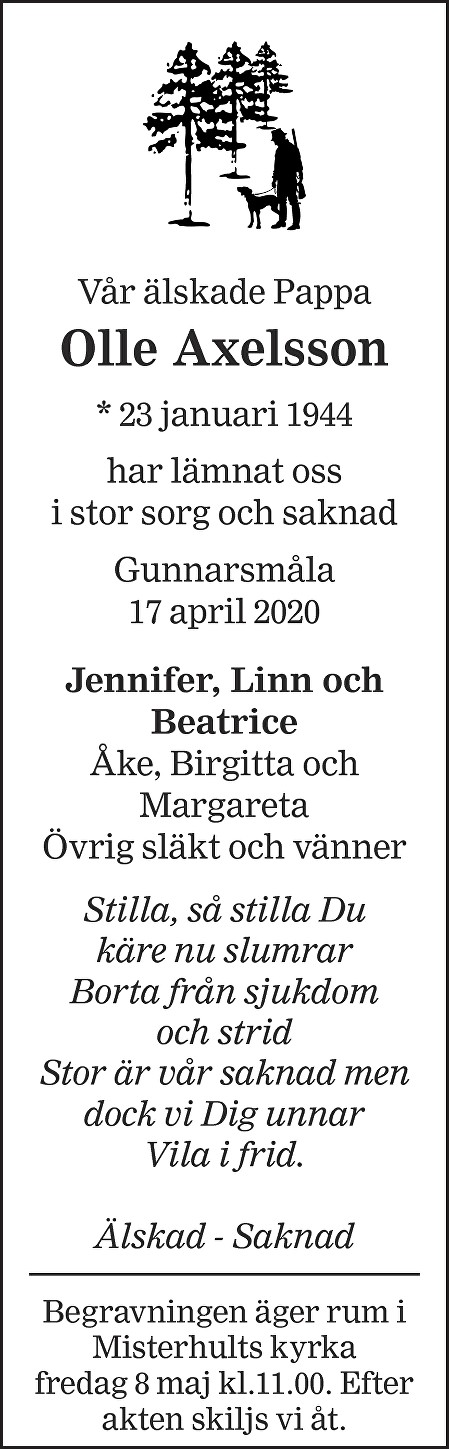 Olle Axelsson Death notice