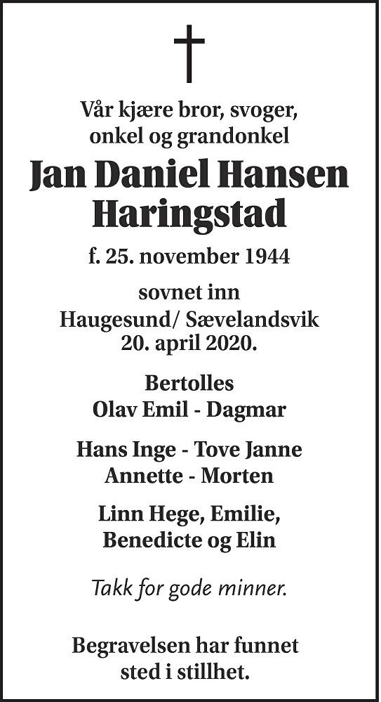 Jan Daniel Hansen Haringstad Dødsannonse
